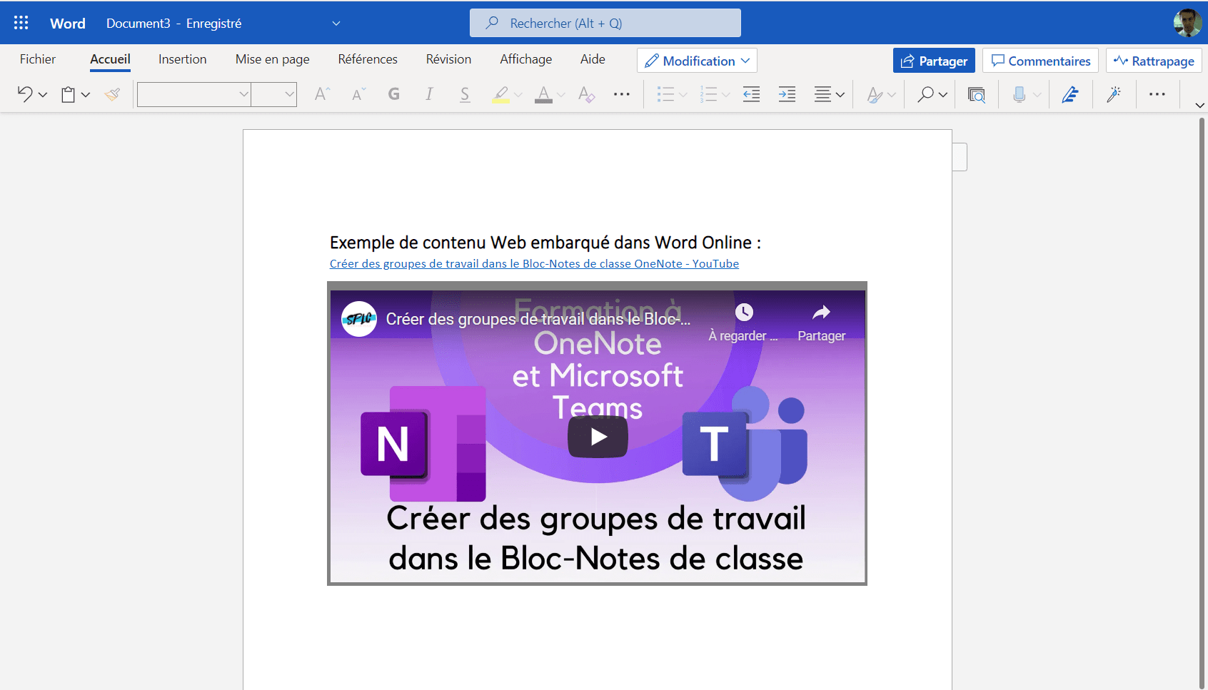 Word Online prend désormais en charge l'intégration d'applications interactives – YouTube, Wakelet, Buncee, Genially et plus encore !